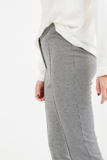 Hounds' tooth pattern trousers, White/Black, hi-res