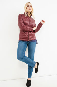 Curvy solid colour down jacket with high neck, Aubergine, hi-res