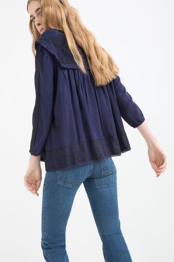 100% viscose blouse., Navy Blue, hi-res