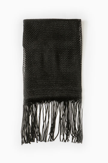100% viscose scarf with fringing, Black, hi-res