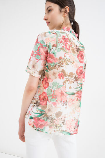 Shirt with floral print, Cream White, hi-res