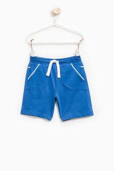100% cotton Bermuda shorts with drawstring, Cornflower Blue, hi-res