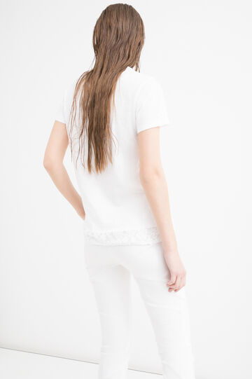 100% cotton T-shirt with lace, White, hi-res