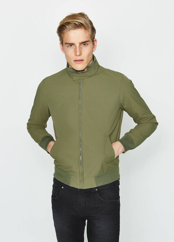 Jacket with high neck and ribbing | OVS