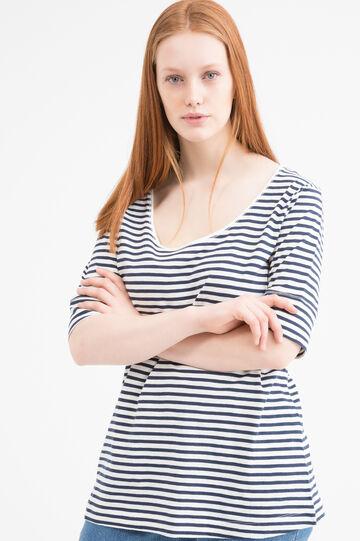 Striped pattern, 100% cotton Curvy T-shirt, White, hi-res