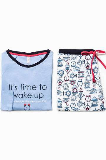 Pyjamas with print and clock pattern