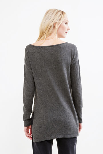 Cotton and viscose printed pullover, Dark Grey Marl, hi-res