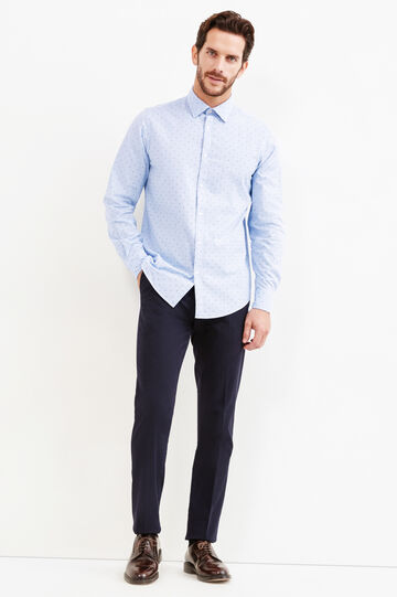 Slim-fit printed casual shirt, Light Blue, hi-res