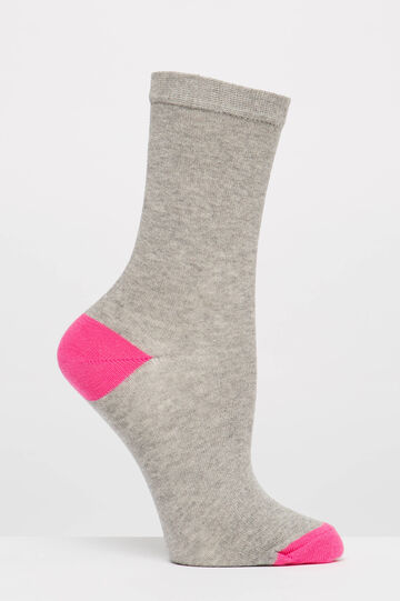 Two-pair pack stretch socks in cotton, Grey, hi-res