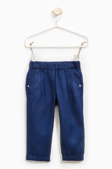 Pantalón en color liso con cintura elástica, Azul marino, hi-res