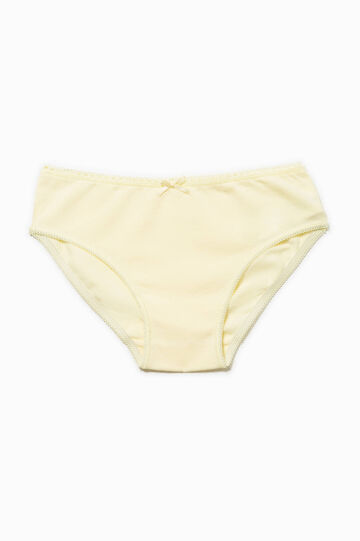 Cotton briefs with bow, Yellow, hi-res