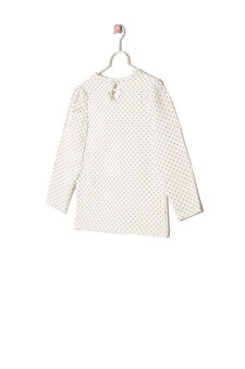 Stretch cotton polka dot T-shirt, Milky White, hi-res