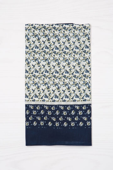 100% cotton floral scarf, Navy Blue, hi-res