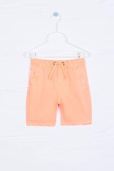 Solid colour 100% cotton Bermuda shorts, Neon Orange, hi-res