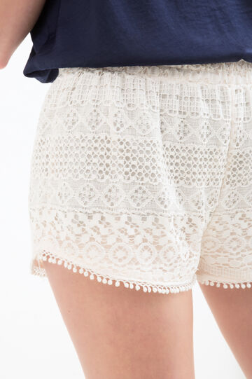 Solid colour lace shorts, White, hi-res