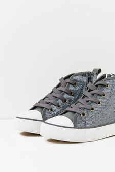High-top glitter sneakers, Grey, hi-res