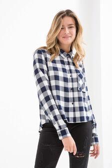 Teen check viscose shirt, White/Blue, hi-res
