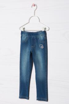 Stretch cotton jeggings with diamanté motif, Denim Blue, hi-res