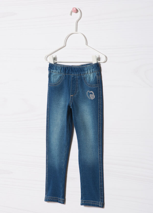 Stretch cotton jeggings with diamanté motif | OVS
