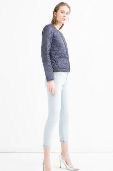 Solid colour ultra-light down jacket, Blue, hi-res