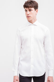 Slim fit formal shirt in 100% cotton, White, hi-res