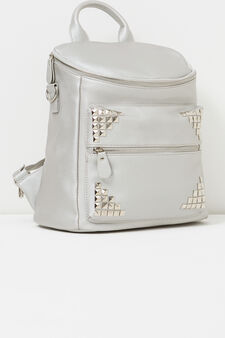Solid colour backpack with studs, Grey/Silver, hi-res