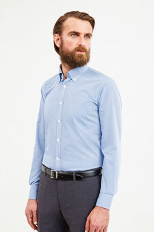 Slim-fit formal shirt with micro-check pattern, Soft Blue, hi-res