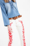 Stretch jeans with embroidery, White/Red, hi-res