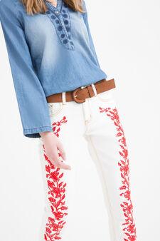 Jeans stretch con ricami, Bianco/Rosso, hi-res