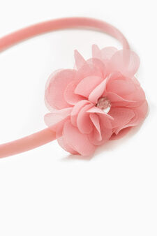 Hairband with tulle flower, Pink, hi-res