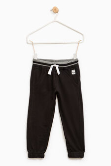 Joggers in 100% cotton with drawstring, Black, hi-res