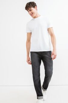 Straight fit, worn-effect jeans with whiskering, Black, hi-res