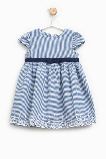 Striped dress with belt and embroidery, White/Blue, hi-res