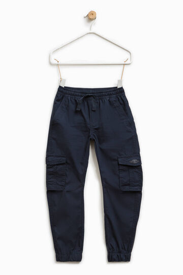 100% cotton trousers with pockets, Navy Blue, hi-res