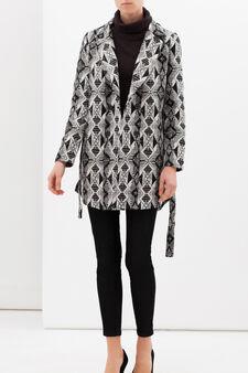 Patterned coat with belt, Grey, hi-res