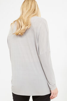 Curvy V-neck T-shirt in 100% viscose, Grey, hi-res