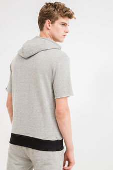 Short sleeved sweatshirt with hood, Grey, hi-res