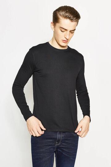 T-shirt in cotone girocollo, Nero, hi-res