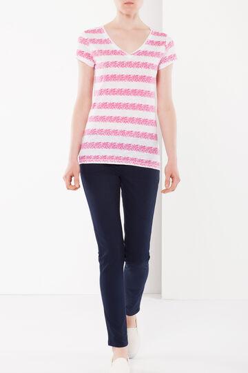 T-shirt a righe, Bianco/Rosa, hi-res