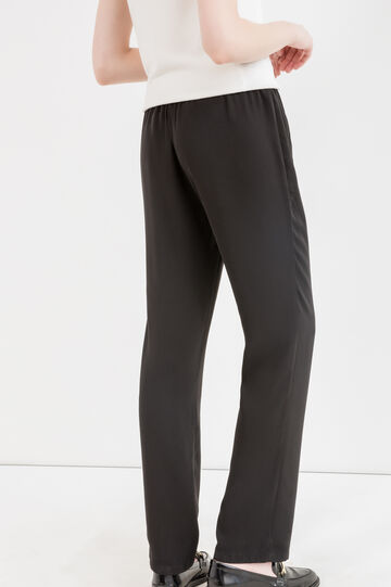 Trousers with elasticated waist and drawstring., Black, hi-res