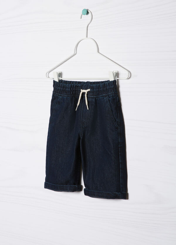 Denim Bermuda shorts with drawstring | OVS
