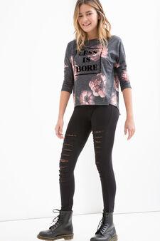 Teen linen blend patterned T-shirt, Black, hi-res