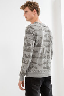 Cotton blend sweatshirt with all-over print, Grey Marl, hi-res
