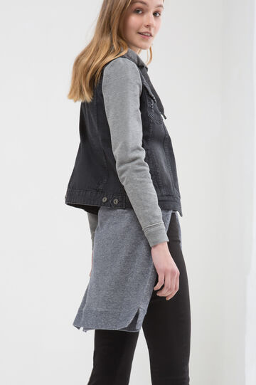Gilet di jeans effetto used, Nero, hi-res