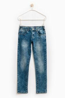 Jeans straight fit stretch effetto used, Blu chiaro, hi-res