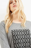 Curvy viscose T-shirt with glitter print, Grey Marl, hi-res