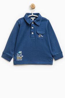 Polo shirt with printed lettering and long sleeves, Blue, hi-res