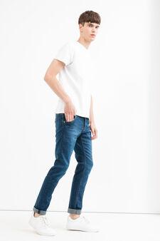 Jeans slim fit used con scoloriture, Lavaggio scuro, hi-res