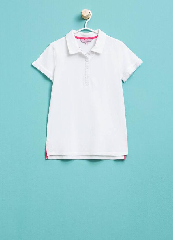 Long polo shirt in stretch cotton | OVS