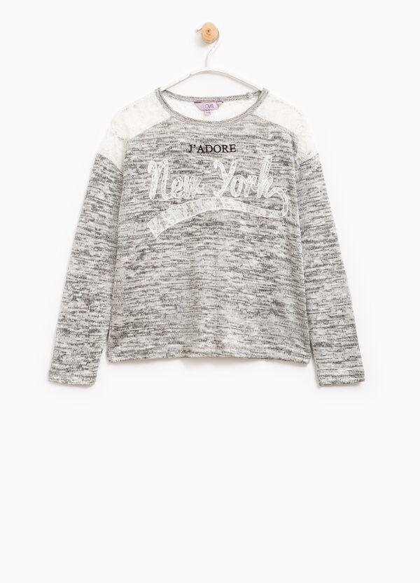 Mélange cotton T-shirt with lace | OVS